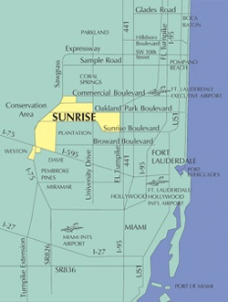 Ft Lauderdale On Map Of Florida.City Of Sunrise Fl Location