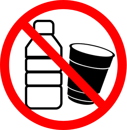 No to plastic cups and bottles