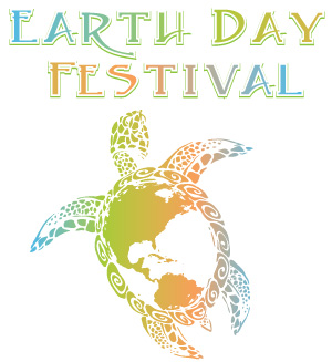 Earth Day Festival logo depicting a turtle with the earth on it's shell