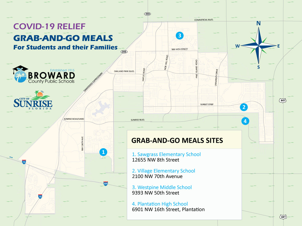 COVID-19 Relief map showing grab and go meal sites for Broward County Public School students and their families