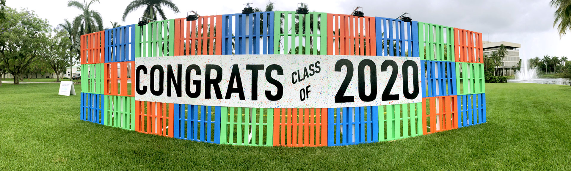City of Sunrise pallet wall for 2020 high school graduation