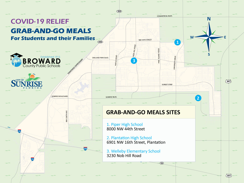 Sunrise COVID-19 Food Distribution map for summer 2020