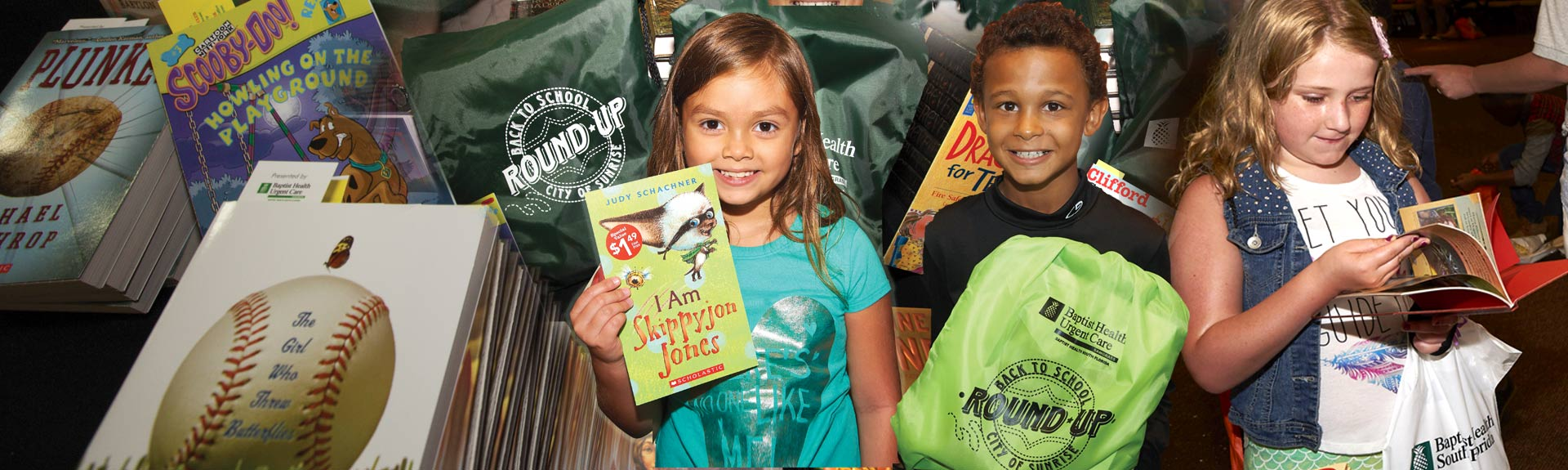Kids and lots of books at the Sunrise Back-To-School Round Up! event